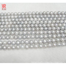 9-10mm Grey Color Round Freshwater Pearl Strand (ES185)