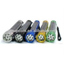 Liga de alumínio 7led solar powered tocha recarregável