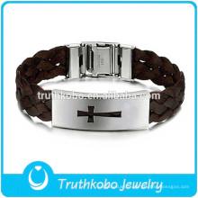 LBA006 plus récent bijoux de brun corde séparée pour les hommes avec le Christ religieux Desgin Tags boucle de ceinture en gros bracelet promotionnel