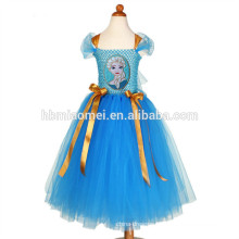 2017 Latest design one pcs dance wear girl dress blue color handmade girls tutu dress for girls performance