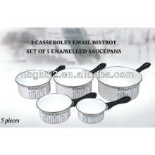 set of 5 enamel saucepan with bakelite handle