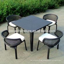Rattan de jardim de design exclusivo, mobília de jantar