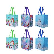 Christmas holiday designs expandable reusable wholesale pp non-woven bag for gift