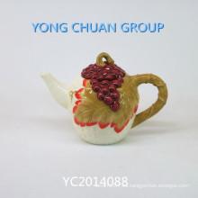 Hervidor de cerámica pintado a mano con mango