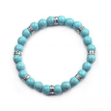 Women 2016 Natural 24 Round Beads Turquoise Gemstone 8 Alloy Bracelet