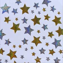 Custom Decorative Gold Sliver Stars Plastic Stickers