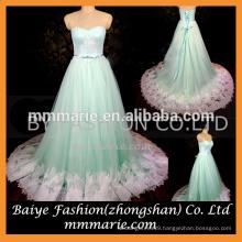 New Latest Girls Fashion Ball Gown Lace Mint Green Colored Sweatheart Neckline Beautiful Princess Wedding Dress