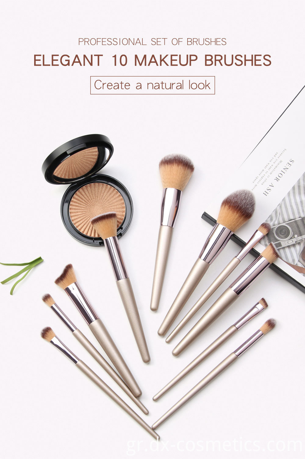 10 Piece Champagne Gold Makeup Brushes elegant