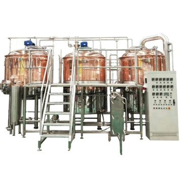 1200L 12HL 10BBL Red Copper direct fire heating 2 vessel microbrewery equipment canada