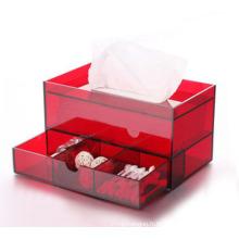 Boîte de tissu acrylique rouge exquis avec cosmétique