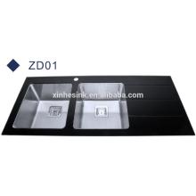 Популярный стиль черный стеклянная столешница из нержавеющей стали кухонная раковина с drainboard
