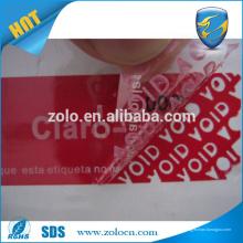 Resíduo tamper anti-contrafacção adesivo papel de vinil / garantia de impressão VOID etiqueta