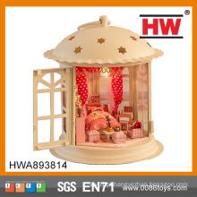 Casa de boneca de brinquedo de madeira quente com bateria de luz incluído