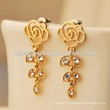 Boucles d'oreilles en cristal de roses et boucles d'oreilles