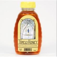 Klare Plastik (PET) Honig-Bienen-Bienenstock-Flaschen mit gelber Kappe (PPC-PHB-74)