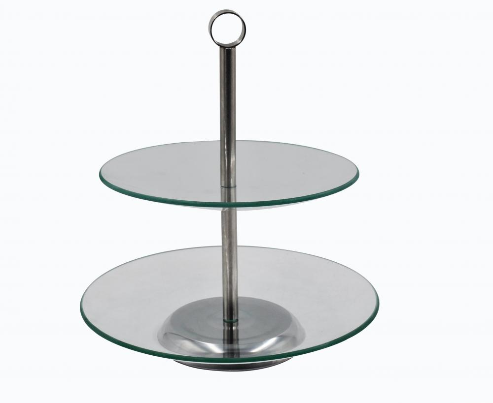 2 LAYERS GLASS CAKE STAND