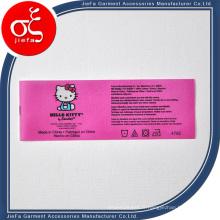 Étiquette rose mignonne faite sur commande de soin de lavage de Polyster pour l'étiquette de vêtements / cadeau