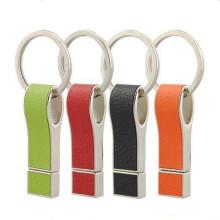 Unidade flash USB criativa de couro com chaveiro