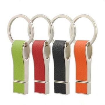 Kreatives USB-Flash-Laufwerk aus Leder mit Schlüsselanhänger