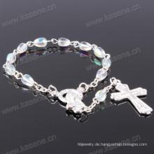 Heißer Verkaufs-silberner transparenter 4 * 6 Tropfen-Kristallchaplet