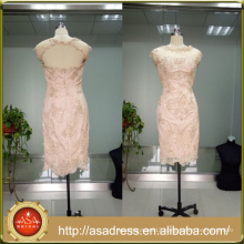 ASAM-03 Appliques Beaded Sheer Scoop Neck Cap Sleeves Knee length Zipper Back Lace Mother of the Bride Dresses