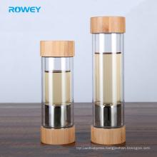 Custom glass bottle water Borosilicate with Eco-friendly Bamboo Lid