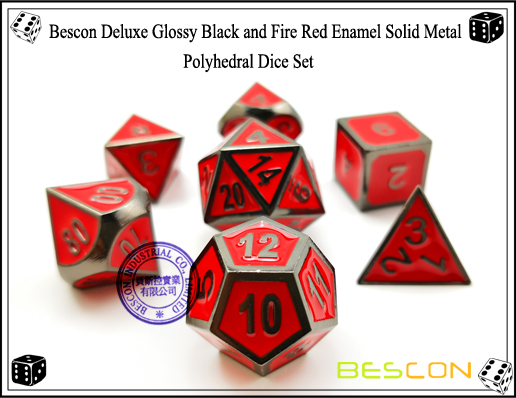 Bescon Deluxe Glossy Black and Fire Red Enamel Solid Metal Polyhedral Role Playing RPG Game Dice Set (7 Die in Pack)-3