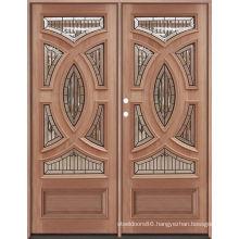 Double Doos Big Moulding Villa Exterance Oak Wood Doors