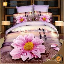 beautiful pink flower bedding set ,3D polyester bedding set