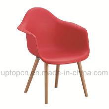 Оптовая Цвет Опционный ресторан пластиковый стул с деревянным основанием кресла (СП-UC409)