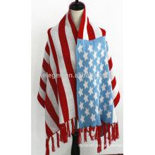Patrón de bandera de Estados Unidos de acrílico bufanda de invierno chal