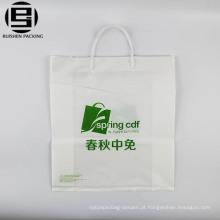 Personalizado completo branco impresso eco PE sacos de compras de plástico macio saco de alça de loop