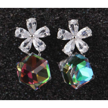 Cube Grade Silver Zircon Gold Plated Earrings