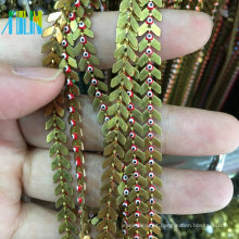 Corrente plana da forma com corrente de grânulos do rosário do fio de metal do olho mau de Turquia