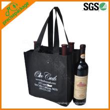 eco atacado não tecido preto 6 pack saco de garrafa de vinho