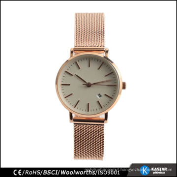 Stainless steel mesh watch japan quartz wrist watch for couple nickle free stainless steel
