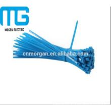 Cierres de cremallera de cable de nylon suave tipo autobloqueante Azul con alta resistencia a la tracción, UL94-V2 a prueba de fuego
