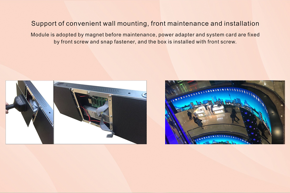 Convenient wall mounting for indoor led display screens