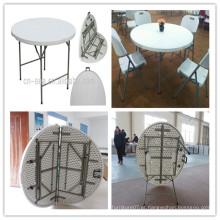 Dia. 122cm HDPE Blow Mold Almofada de churrasco ao ar livre barquinha de alta qualidade dobrando em meia mesa redonda (HQ-ZY122)