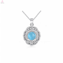 OEM 925 Sterling Silver Blue Stone Pendant Necklace