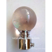 Glass crystal ball curtain rod finials for window pipe