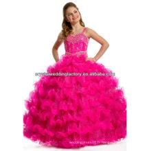 Robe de bal à perles luxueuses jupe bordée perles de roses chaudes / pomme vert longues robes de concours de filles CWFaf5279