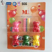 Lovely Thin Spiral Geburtstagskerze mit kleinen Bärenhaltern