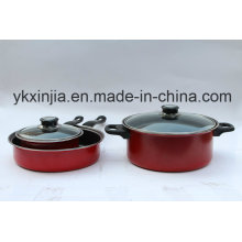 Utensílios de cozinha aço carbono vermelho não-Stick Cookware conjunto