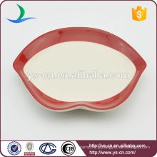Lábios vermelhos prato de cerâmica para decoração Home