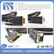 5-ти футовый DVI-мужчина к VGA-мужчине M / M-кабель для DVD-телевизора HDTV HD 1080P