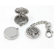 30mm Silver Smooth Round Life Tree Essential Oil Locket Keychain