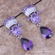 American princess long led earrings zircon stone purple cubic zircon