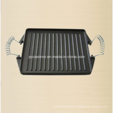 China Cast Iron Steak Griddle Plate with Metal Handle