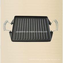 Plato de la plancha del molde del hierro fundido de China con la manija del metal